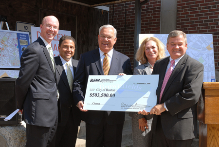 On Wednesday, September 3, 2008, Mayor Thomas M. Menino announced that the Environmental Protection Agency (EPA) awarded the City of Boston $503,500 in Brownfields grants. Pictured here from left to right are Jim Hunt, Chief of Environment and Energy for the City of Boston; Boston City Councilor Robert Consalvo; Mayor Thomas Menino; Evelyn Friedman Chief and Director of the Department of Neighborhood Development; Robert Varney, U.S. E.P.A. Region One Administrator.
