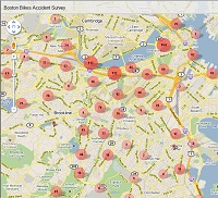 Google Map of Bike Crashes (200)